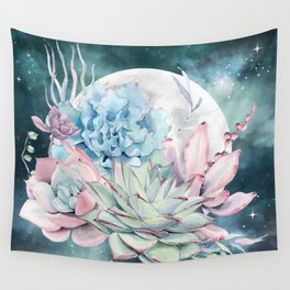 Beautiful Succulents Full Moon Teal Pink Wall Tapestry