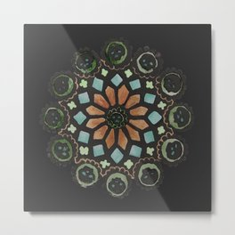 Skull Rose Window - Stained Glass Metal Print