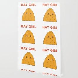 Cute & Funny Hay Girl Bale Of Hay Pun Wallpaper