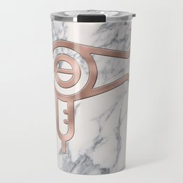 Rose Gold Blow Dryer on Marble Background - Salon Decor Travel Mug