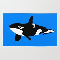 orca Area & Throw Rugs featuring Orca by Whimsy Notions Designs