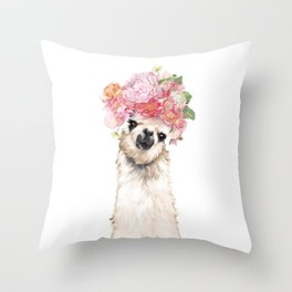 Llama with Beautiful Flowers Crown Throw Pillow