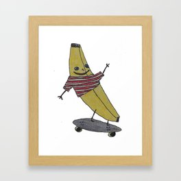 skateboarding banana wearing a sweater Framed Art Print
