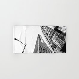 pyramid building and modern building in black and white at San Francisco, USA Hand & Bath Towel