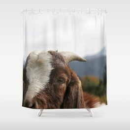 Look who's complaining, funny goat photo Shower Curtain