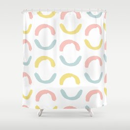 Colorful Hand Drawn Half Circles Pattern Shower Curtain