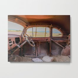 Old Car Stopped for Gas in Desert Metal Print