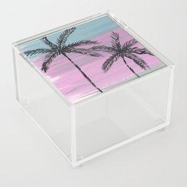 two palm trees sunset sky Acrylic Box