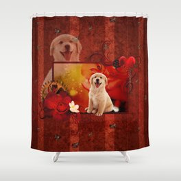 Sweet golden retriever Shower Curtain