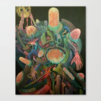 frankenstein Canvas Prints featuring Frankenstein by Haslin