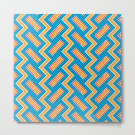 034 Abstract white, light orange and blue art for home decoration Metal Print