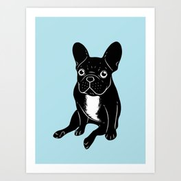 Cute brindle French Bulldog in black and white digital art Art Print