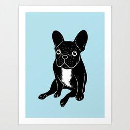 Cute brindle French Bulldog in black and white digital art Art Print
