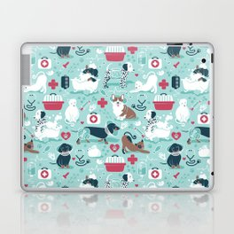 Veterinary medicine, happy and healthy friends // aqua background Laptop & iPad Skin