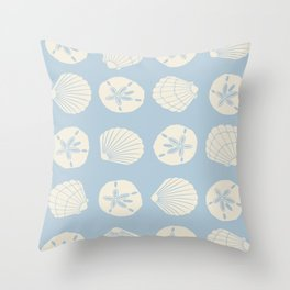 Sea Shells Gray Blue Throw Pillow