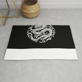 Traditional White and Black Chinese Dragon Circle Rug