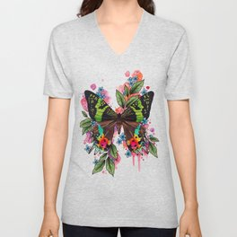 Neo Traditional Sunset Moth and flowers Unisex V-Neck