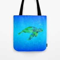 sea turtle Tote Bags featuring Sea Turtle  by MacDonald Creative Studios