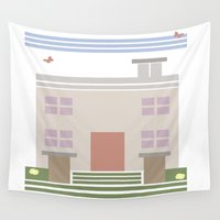 house Wall Tapestries featuring House  by Latoya's playhouse
