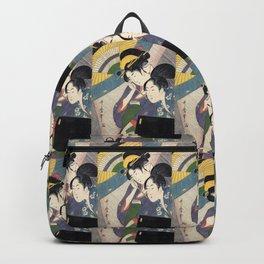 """Utamaro, """" Woman with Geisha and Shamisen Box in Night Rain """" Backpack"""