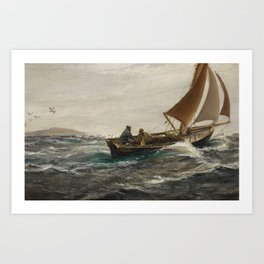 Charles Napier Hemy, 1841-1917, 1916, With Wind and Tide – Off The Dodman-Head, Falmouth Art Print