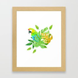 Parrot with Tropical Leaves Framed Art Print