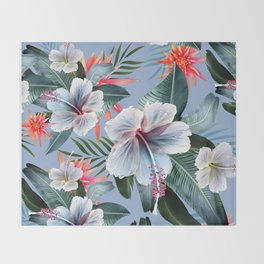 Hawaii, tropical hibiscus vintage style blue dream palm leaves Throw Blanket