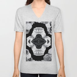 funny skull portrait with roses in black and white Unisex V-Neck
