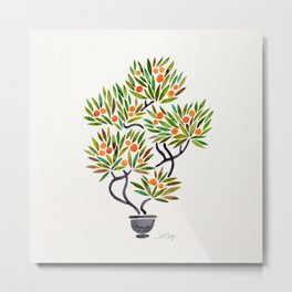 Bonsai Tree – Orange Fruit Metal Print
