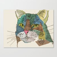 whisky Canvas Prints featuring Whisky Cat by Faye Finney