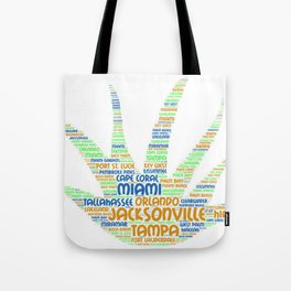 Alove Vera Plant illustrated with cities of Florida State Tote Bag