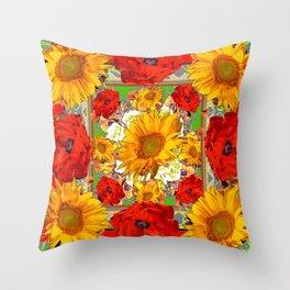 RED POPPY FLOWERS & SUNFLOWERS ARTWORK Throw Pillow