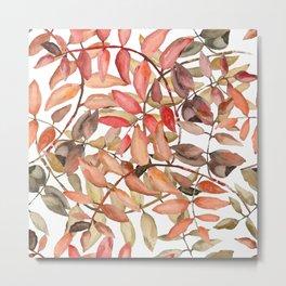 rowan leaves in watercolor Metal Print