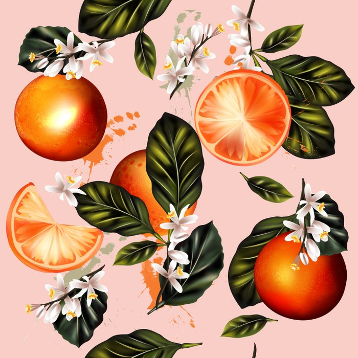 Citrus paradise. Tropical pattern with oranges Comforters