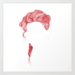 Red Curved Hair Art Print