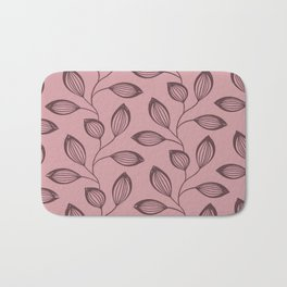 Climbing Leaves In Dusky Copper On Rose Bath Mat