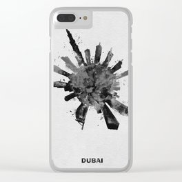Dubai, United Arab Emirates Black and White Skyround / Skyline Watercolor Painting Clear iPhone Case