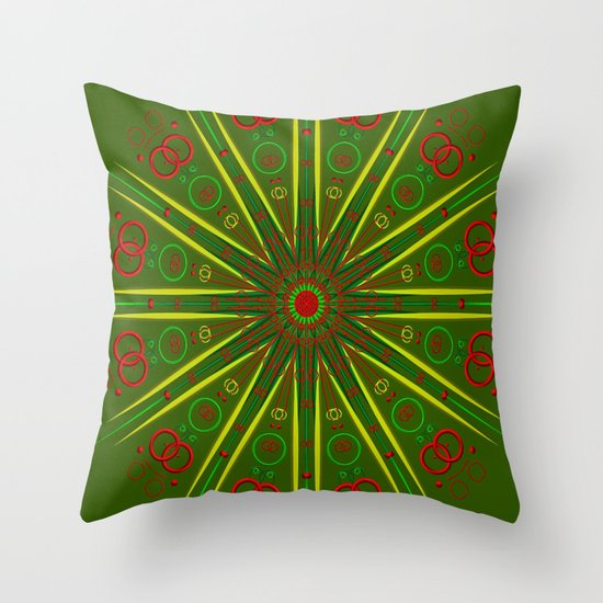 Greens and Reds Throw Pillow