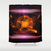 pentagram Shower Curtains featuring Pentagram  by nicky2342