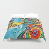 yellow submarine Duvet Covers featuring The Yellow Submarine by Nick Swann