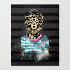 Hipster Lion on Black Canvas Print