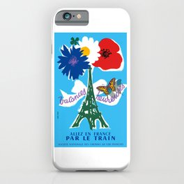 1954 France Happy Holidays Railway Travel Poster iPhone Case