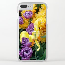 Yellow and Purple Tulips Clear iPhone Case