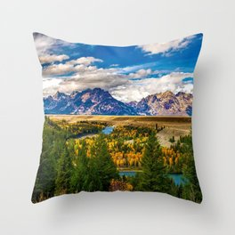 Snake River and Grand Tetons in Winter Throw Pillow