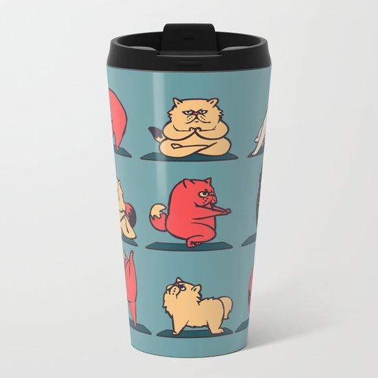 Cat Yoga Metal Travel Mug
