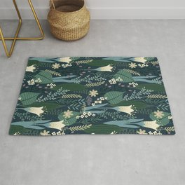 Wonderful Mid-Century Style Evening Lily And Wildflower Pattern Rug