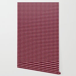 Gingham Red Black and White Pattern Wallpaper