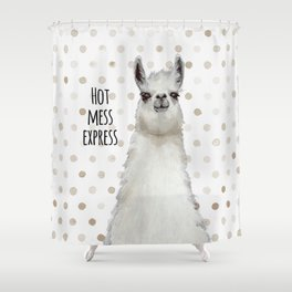 Hot Mess Llama Shower Curtain