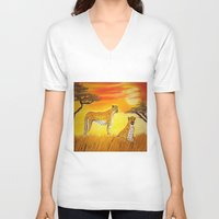 tigers V-neck T-shirts featuring Tigers Sun by ArtSchool