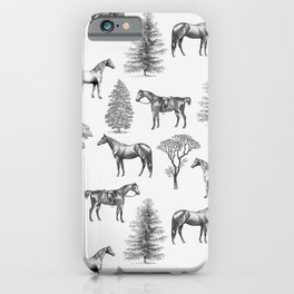 HORSES &TREES Black and white pattern  iPhone Case